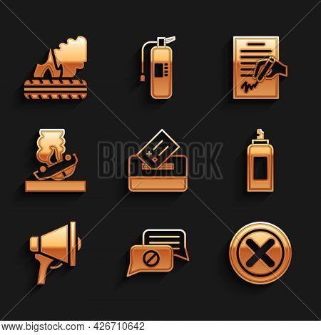 Set Vote Box, Speech Bubble Chat, X Mark, Cross In Circle, Paint Spray Can, Megaphone, Burning Car,