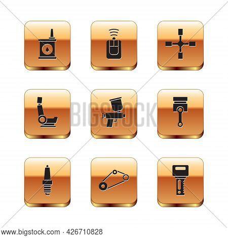 Set Canister For Motor Oil, Car Spark Plug, Timing Belt Kit, Paint Spray Gun, Seat, Wheel Wrench, Ke
