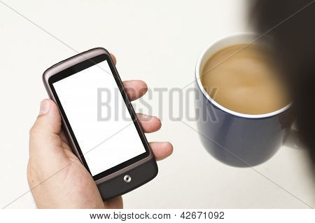 Man Looks At Blank Smartphone
