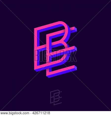 B And E Letters. Monogram Consist Of Volumetric Letters, Crossed, Impossible Figure. Emblem For Busi