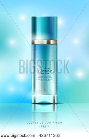 Elegant Bottle For Cream, Sanitizer Or Lotion. Elegant Cosmetics Packaging Mockup. Template For Cosm