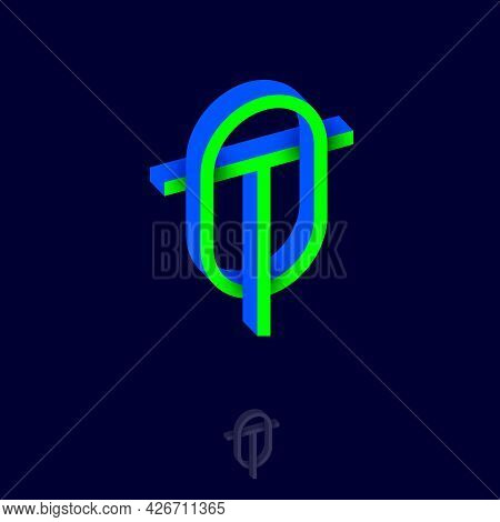 T And O Letters. Monogram Consist Of Volumetric Letters, Crossed, Impossible Figure. Emblem For Busi