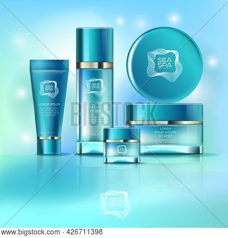Elegant Cosmetics Packaging Mockup Set. Templates For Cosmetics Containers. Different Jars, Bottles,