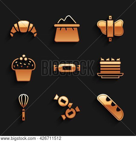 Set Candy, French Baguette Bread, Cake, Kitchen Whisk, Rolling Pin On Dough And Croissant Icon. Vect
