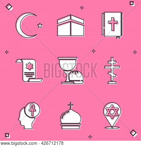 Set Star And Crescent, Kaaba Mosque, Holy Bible Book, Torah Scroll, Grail Chalice, Christian Cross,