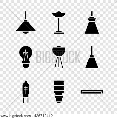 Set Lamp Hanging, Floor Lamp, Light Emitting Diode, Led Light Bulb, Fluorescent, And Icon. Vector
