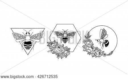 Magic Honey Bee Clipart, Floral Bee Frame - Isolated Items On White, Bumblebee Black And White Vecto