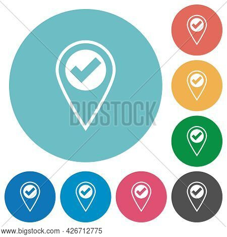 Gps Location Ok Flat White Icons On Round Color Backgrounds