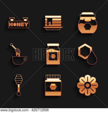 Set Jar Of Honey, Flower, Honeycomb, Dipper Stick, With, And Hanging Sign Honeycomb Icon. Vector