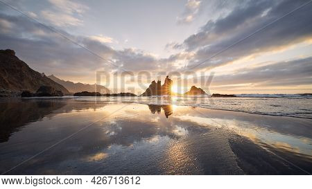 Scenic View Of Benijo Beach Against Sky At Beautiful Sunset. Tenerife, Canary Islands, Spain.