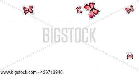 Tropical Red Butterflies Flying Vector Wallpaper. Spring Cute Moths. Fancy Butterflies Flying Girly