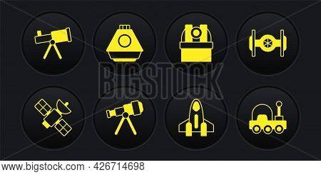 Set Satellite, Cosmic Ship, Telescope, Rocket, Astronomical Observatory, Space Capsule, Mars Rover A