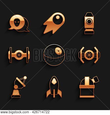 Set Planet, Rocket Ship, Astronomical Observatory, Cosmic, Satellite Dish, And Alien Icon. Vector