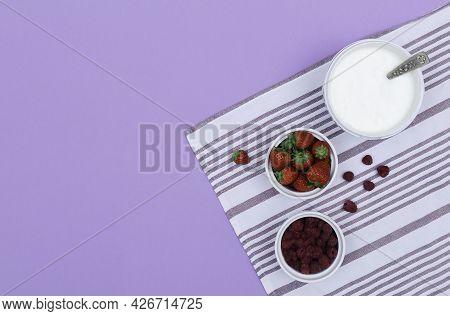 Top View Of Step By Step Recipe Process Of Preparing Summer Yoghurt Fruit Bowl.