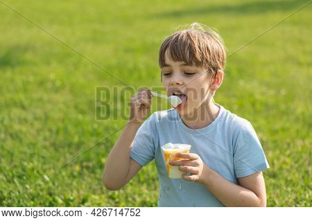 Caucasian Boy Sits On The Lawn Of Green Grass On A Hot Summer Day And Eats Ice Cream Appetizing. The