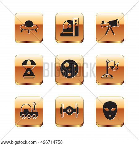 Set Ufo Flying Spaceship, Mars Rover, Cosmic, Planet, Space Capsule, Telescope, Alien And Astronaut