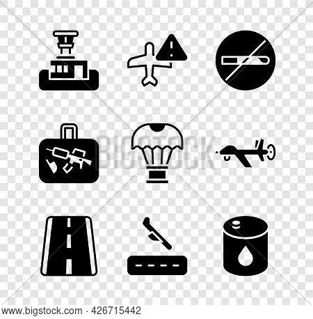 Set Airport Control Tower, Warning Aircraft, No Smoking, Runway, Plane Landing, Barrel Oil, Suitcase