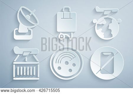 Set Radar With Targets On Monitor, Globe Flying Plane, Plane, No Cell Phone, Suitcase And Icon. Vect