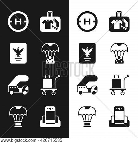 Set Parachute, Passport, Helicopter Landing Pad, Suitcase, Passenger Ladder, Trolley Baggage, Metal