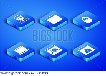 Set Browser With Exclamation Mark, Hacker Or Coder, Shield, Laptop, Window And Computer Mouse Icon.