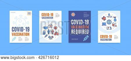 Covid Vaccination Required Poster Banner Set. Vector