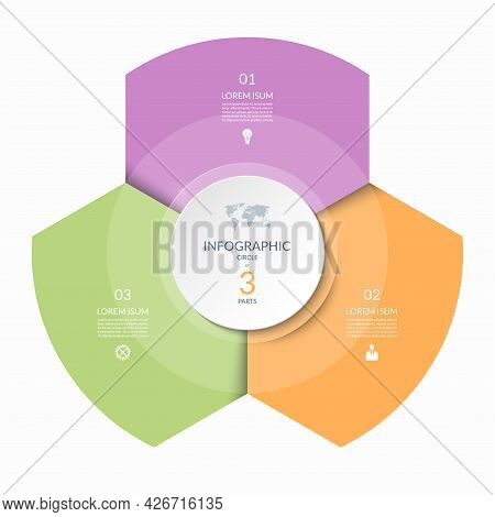Infographic Circle, Process Chart, Cycle Diagram With 3 Steps, Parts. Three-step Vector Template For