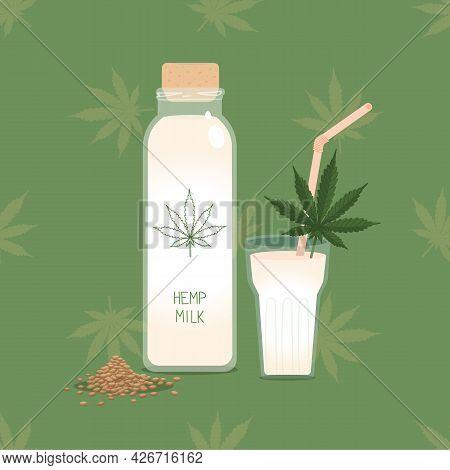 Hemp Milk. Bottle Of Plant Based Cannabis Hemp Milk With Glass And Straw, Seeds And Cannabis Leaf. A