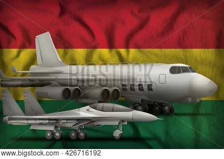 Air Forces On The Bolivia Flag Background. Bolivia Air Forces Concept. 3d Illustration