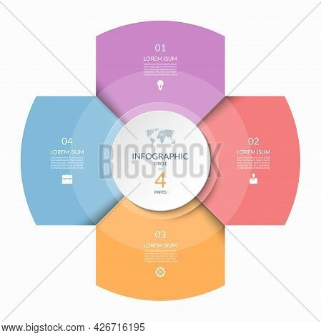 Infographic Circle, Process Chart, Cycle Diagram With 4 Steps, Parts. Four-step Vector Template For