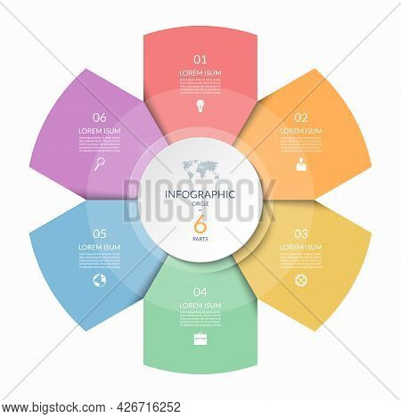Infographic Circle, Process Chart, Cycle Diagram With 6 Steps, Parts. Six-step Vector Template For I