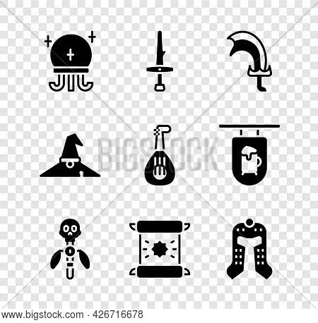 Set Magic Ball, Dagger, Sword For Game, Staff, Decree, Parchment, Scroll, Medieval Helmet, Witch Hat