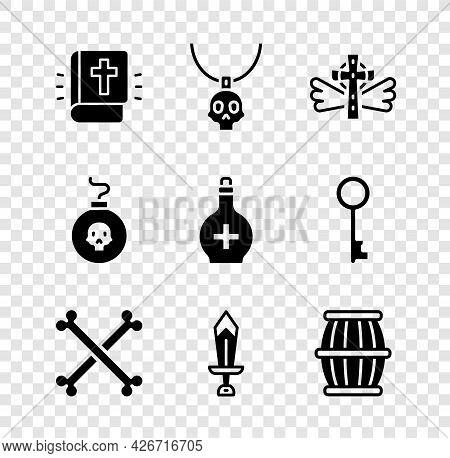Set Holy Bible Book, Necklace Amulet, Christian Cross, Crossed Human Bones, Sword For Game, Gun Powd