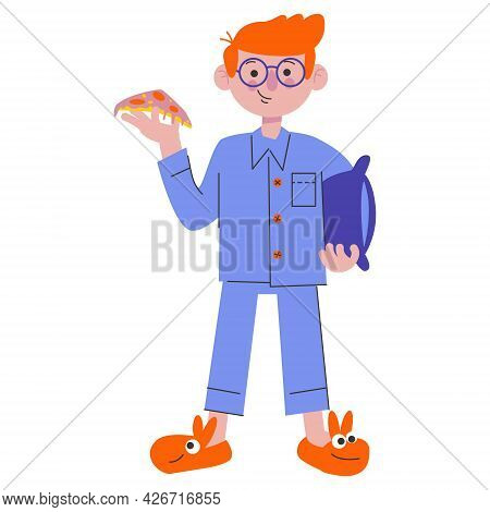 A Boy With Pizza At A Pajama Party. Pillow Fights. Flat Characters Celebrating Holiday. Children Hav