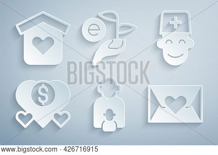 Set Taking Care Of Children, Male Doctor, Donation And Charity, Envelope With Heart, Leaf Hand And S