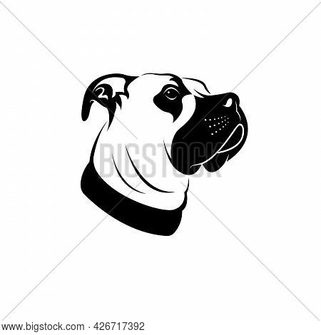 Vector Of A Dog Head (great Dane Or German Mastiff Or Danish Hound) On White Background. Pet. Animal