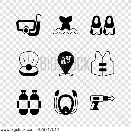Set Diving Mask With Snorkel, Whale Tail, Flippers For Swimming, Aqualung, Fishing Harpoon, Pearl An
