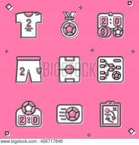 Set Football Jersey And T-shirt, Or Soccer Medal, Betting Money, Shorts For Playing Football, Field,