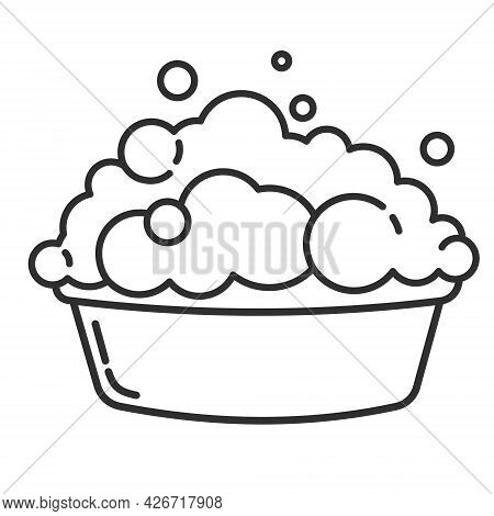 A Basin With A Soapy Solution For Washing Clothes. Vector Outline Illustration Isolated On White Bac