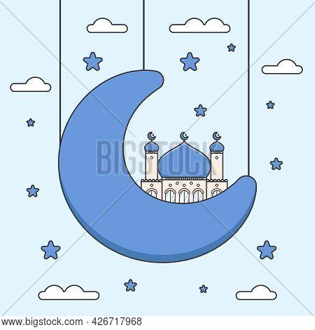 Cute Blue Dome Flat Design Ramadan Mosque On Half Crescent Moon
