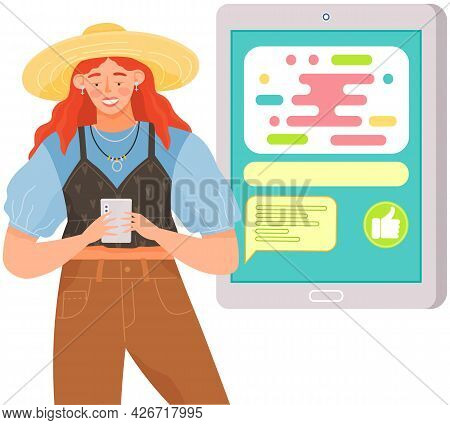 Woman With Smartphone Is Communicating On Abstract Background. Female Character Using Mobile Device
