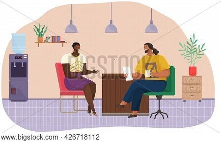 Colleagues Talking In Office. Coworkers Relaxing, Chatting Cartoon Characters, Smiling Man And Woman