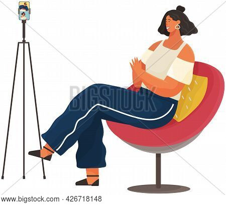 Woman Communicates With Friend Via Video Call. Video Communication, Online Talk. Girl Is Watching Vi
