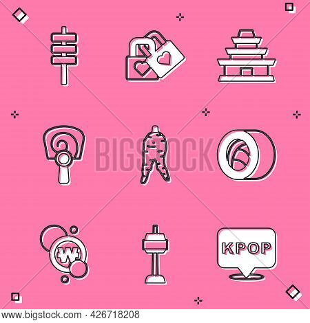 Set Korean Food Tokpokki, Lock With Heart, Temple, Hand Fan, Ginseng Root, Sushi, South Won Coin And