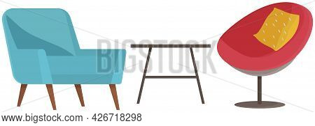 Opposing Chairs In Room For Communication With Journalist. Arrangement Of Furniture, Comfortable Cha