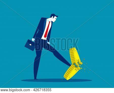 A Businessman Kicking A Coin. Worthless Coins