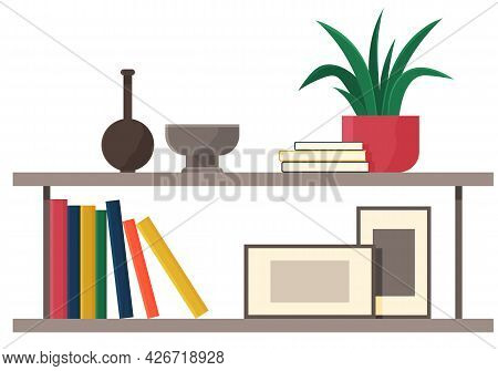 Wooden Shelves With Decorations. Office Or Home Furniture Isolated On White Background. Books, Potte