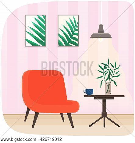 Room Interior With Red Armchair, Plant And Coffee Table. Room For Interview Interior Design With Fur