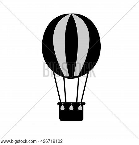 Hot Air Balloon Icon On White Background. Aerostat Sign. Air Transport For Travel Symbol. Flat Style