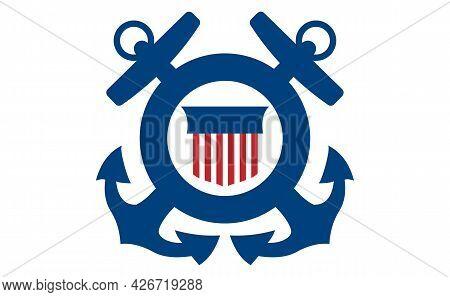 Coast Guard Poster. Symbol Of Coast Guard On White Background. Vector Illustration.
