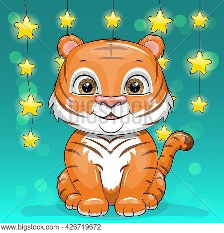 Cute Cartoon Tiger Cub With Star Garland. Vector Illustration Of An Animal.